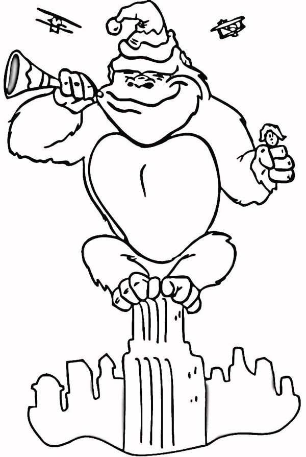 King Kong, : King Kong Blowing New Year Horn Coloring Pages