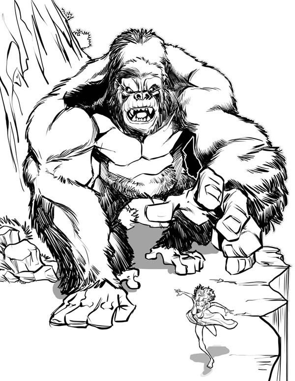King Kong, : King Kong Chase Ann Darrow Coloring Pages
