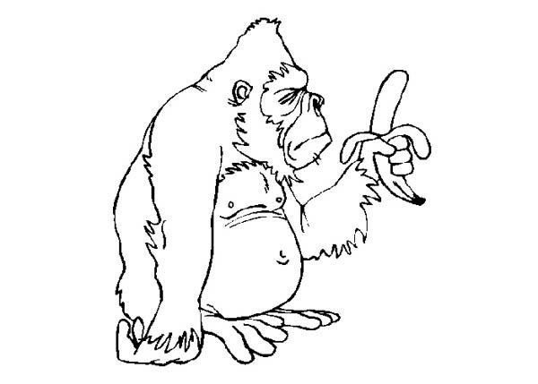 King Kong, : King Kong Eat Banana Coloring Pages