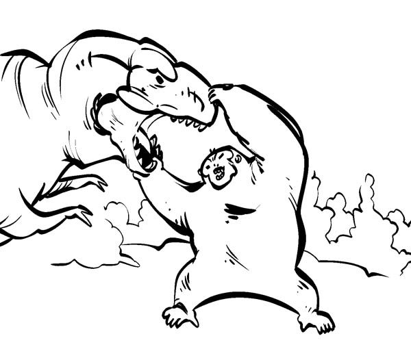 King Kong Open Dinosaur Mouth Wide Coloring Pages Bulk Color