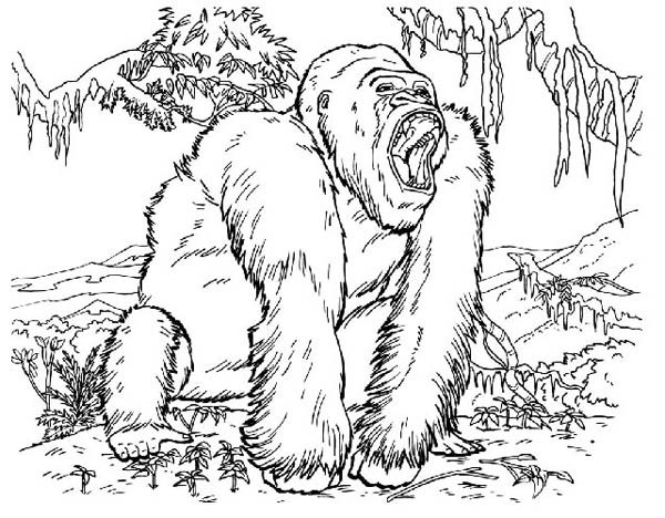 King Kong, : King Kong Screaming Out Loud Coloring Pages