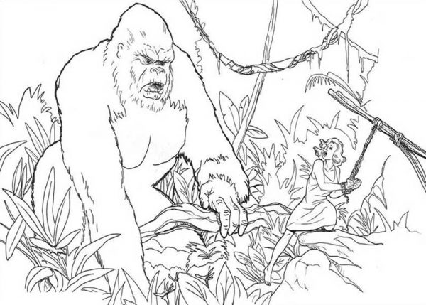 King Kong, : King Kong Tie Ann Darrow to a Tree Coloring Pages