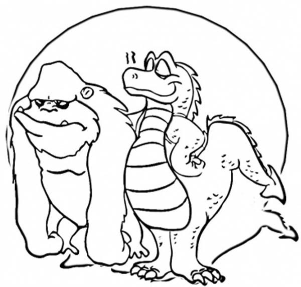 King Kong, : King Kong and Godzilla Take a Picture Before Fight Coloring Pages
