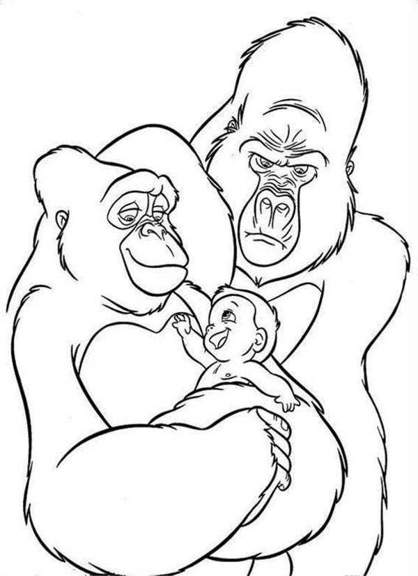 King Kong, : King Kong the Tarzan Jungle Family Coloring Pages