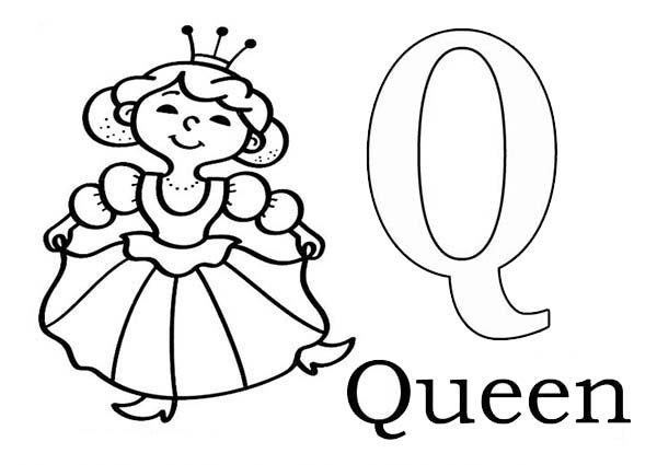 learn alphabet letter q for queen letter q coloring page