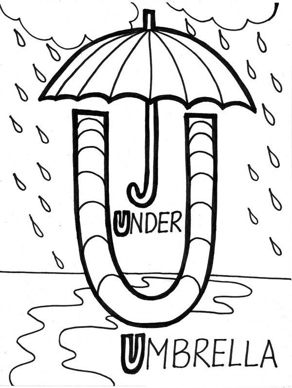 learn alphabet umbrella is for letter u coloring page