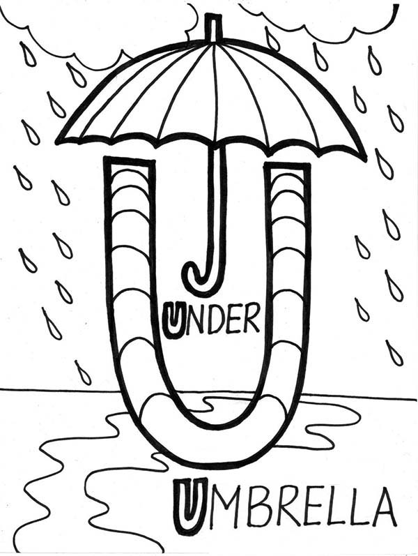 U Is For Umbrella Coloring Page Learn Alphabet Umbrell...