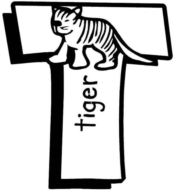 Letter T, : Learn Capital Letter T for Tiger Coloring Page