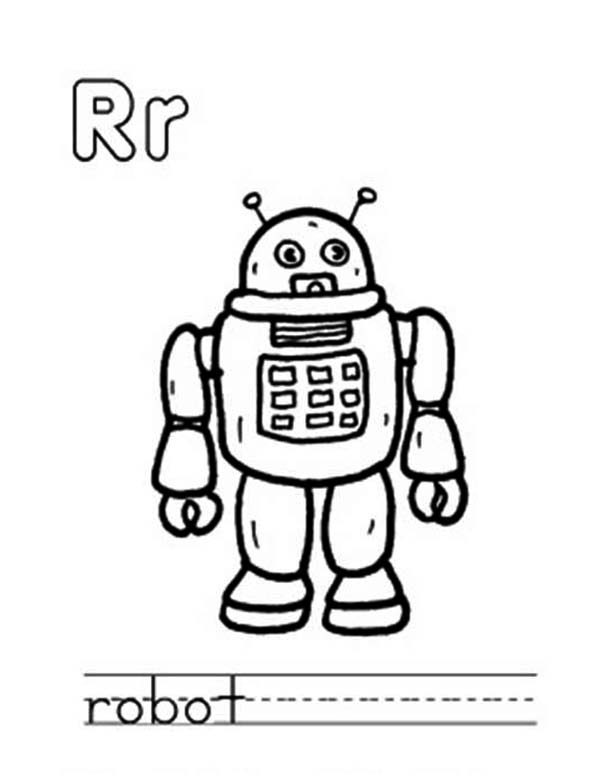 Letter R, : Learn Capital and Small Letter R for Robot Coloring Page