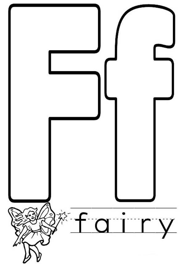 Letter F, : Learn Letter F for Fairy Coloring Page