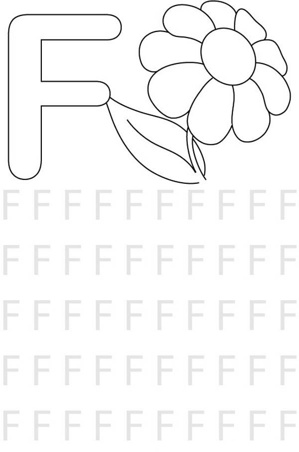 Letter F, : Learn Letter F for Kids Coloring Page 2