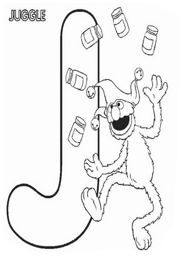 learn letter j for juggle in sesame street coloring page