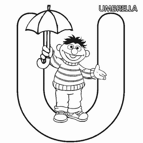 Letter U, : Learn Letter U for Umbrella in Sesame Street Coloring Page