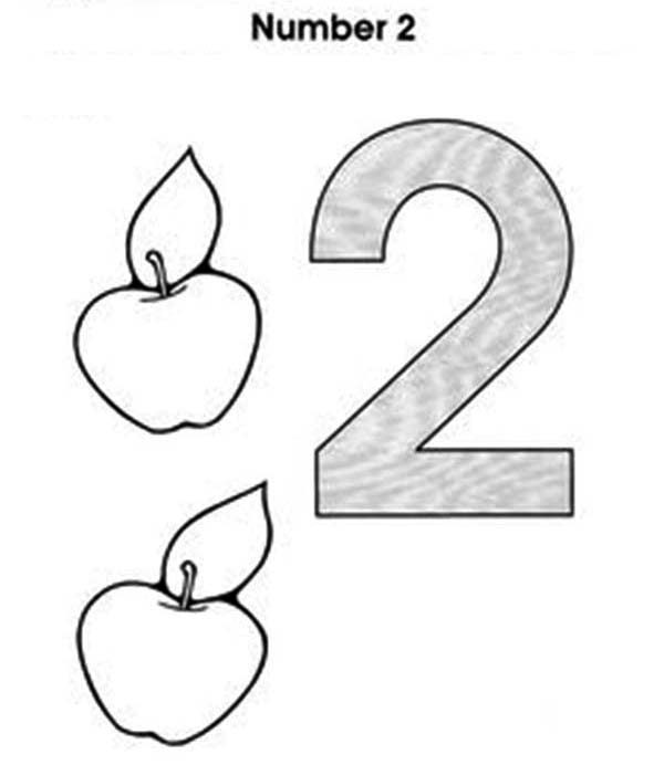 Number 2, : Learn Number 2 with Two Apples Coloring Page