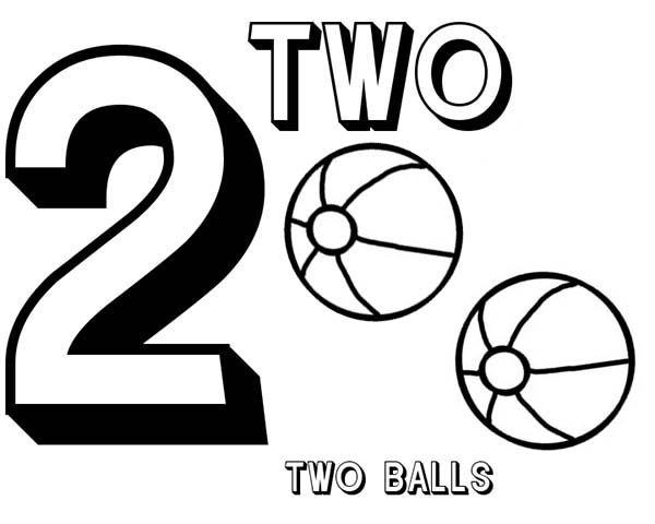 Number 2, : Learn Number 2 with Two Basketball Coloring Page