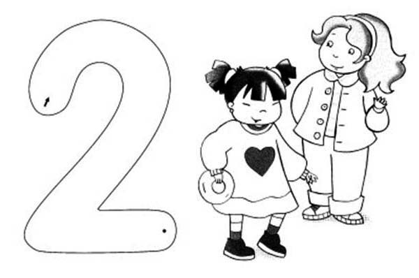 Number 2, : Learn Number 2 with Two Little Girl Coloring Page