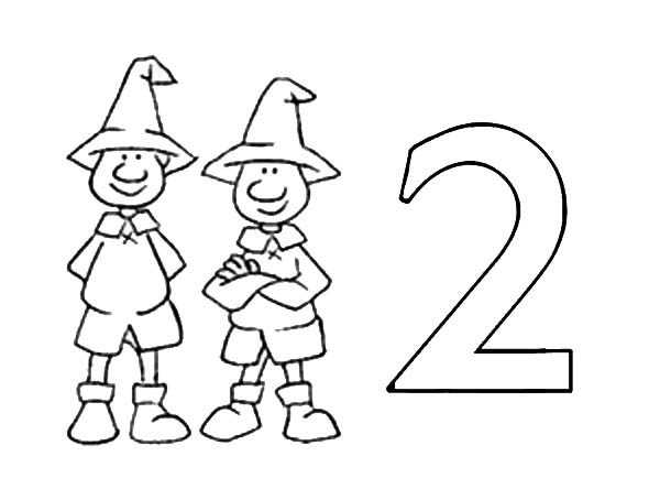 Number 2, : Learn Number 2 with Two Man Coloring Page