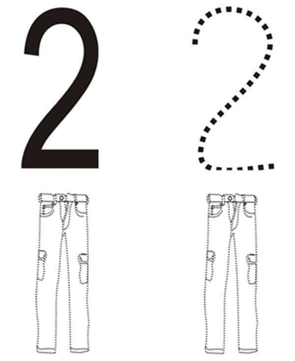 Number 2, : Learn Number 2 with Two Pants Coloring Page