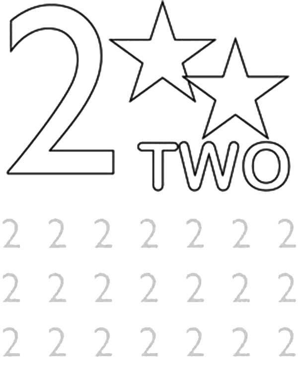 Number 2, : Learn Number 2 with Two Strars Coloring Page
