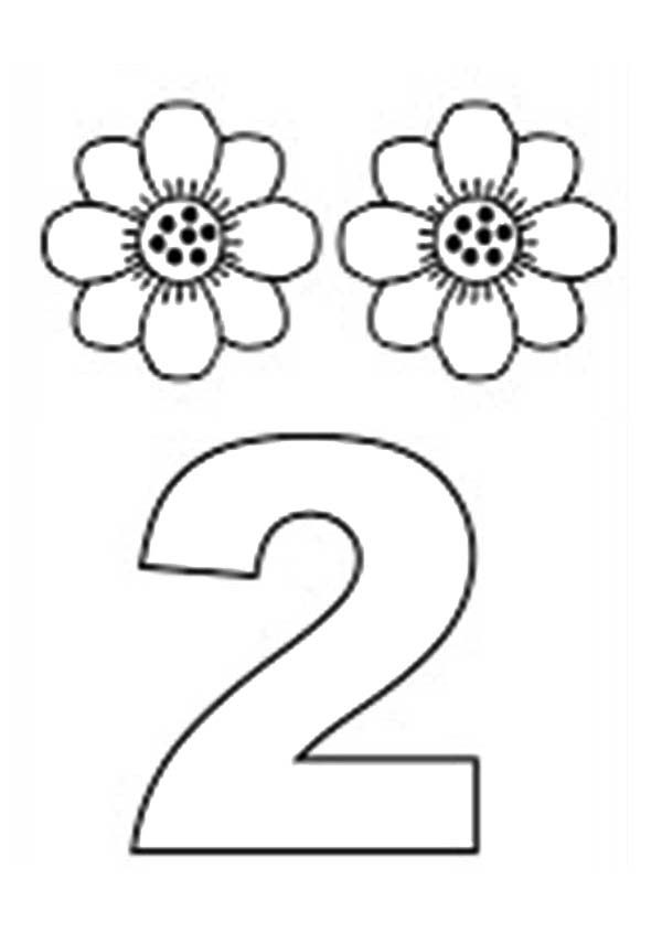 Number 2, : Learn Number 2 with Two Sunflowers Coloring Page