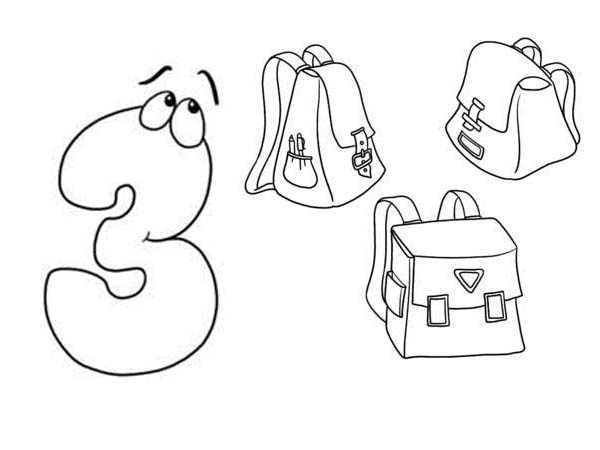 Number 3, : Learn Number 3 with Three Bags Coloring Page