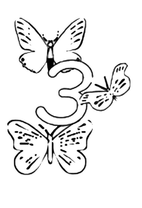 Number 3, : Learn Number 3 with Three Butterflies Coloring Page