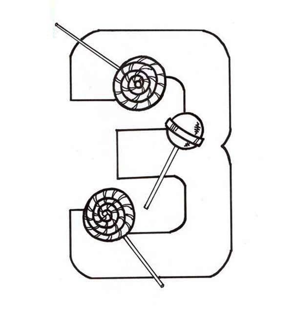 Number 3, : Learn Number 3 with Three Candy Coloring Page
