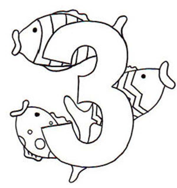 Learn Number 3 with Three Fishes Coloring Page Bulk Color