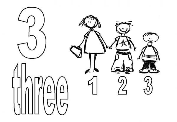 Number 3, : Learn Number 3 with Three Kids Coloring Page