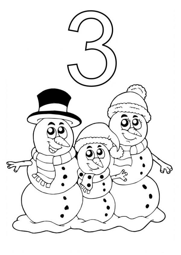 Number 3, : Learn Number 3 with Three Snowman Coloring Page