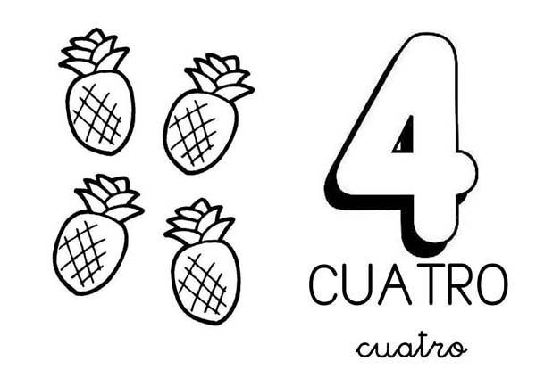 Number 4, : Learn Number 4 with Four Pineapples Coloring Page
