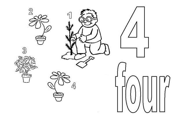 Number 4, : Learn Number 4 with Four Plants Coloring Page