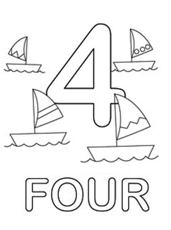 Number 4, : Learn Number 4 with Four Ships Coloring Page