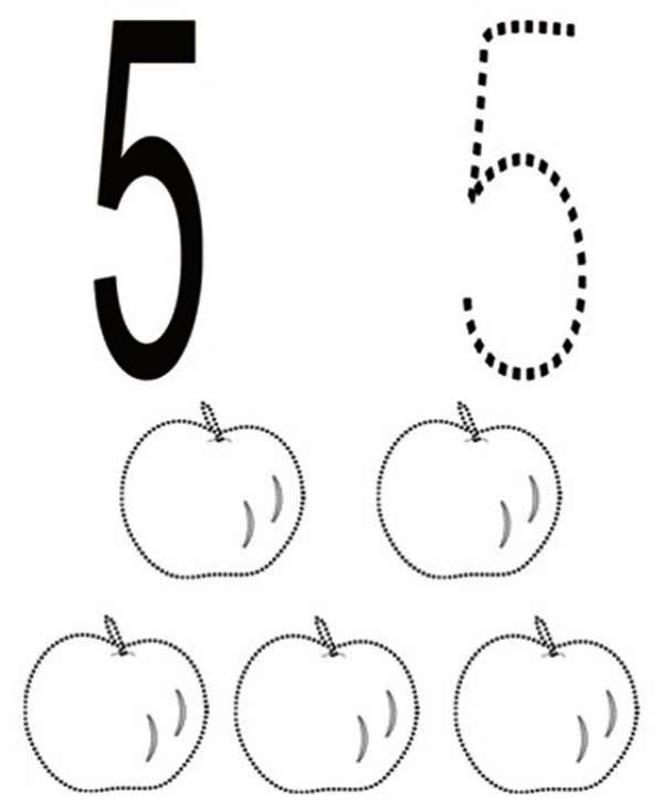 Learn Number 5 with Five Apples Coloring Page | Bulk Color