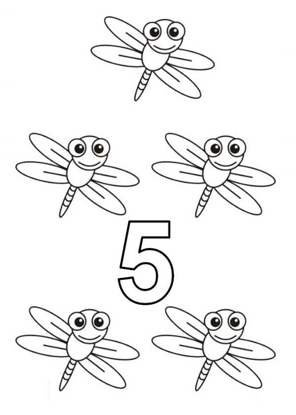 Number 5, : Learn Number 5 with Five Dragon Flies Coloring Page