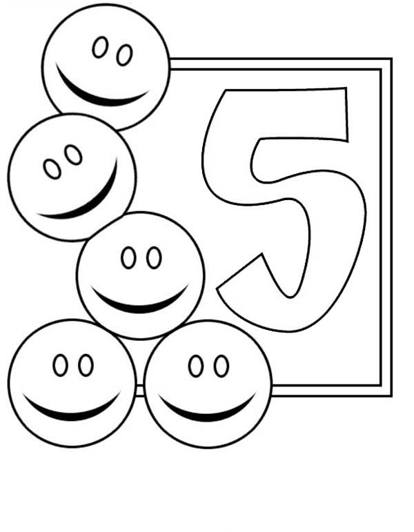 Number 5, : Learn Number 5 with Five Smiley Faces Coloring Page