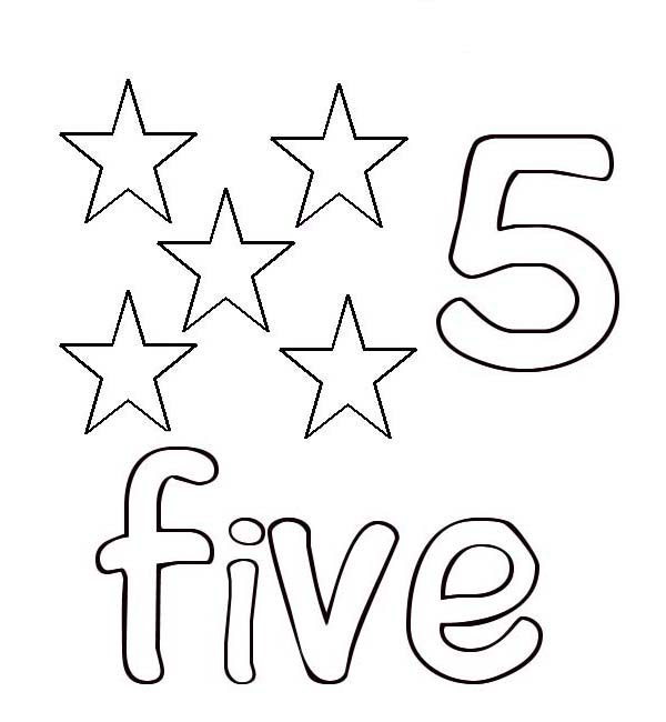 Learn Number 5 With Five Stars Coloring Page Bulk Color Gta 5 Coloring Pages