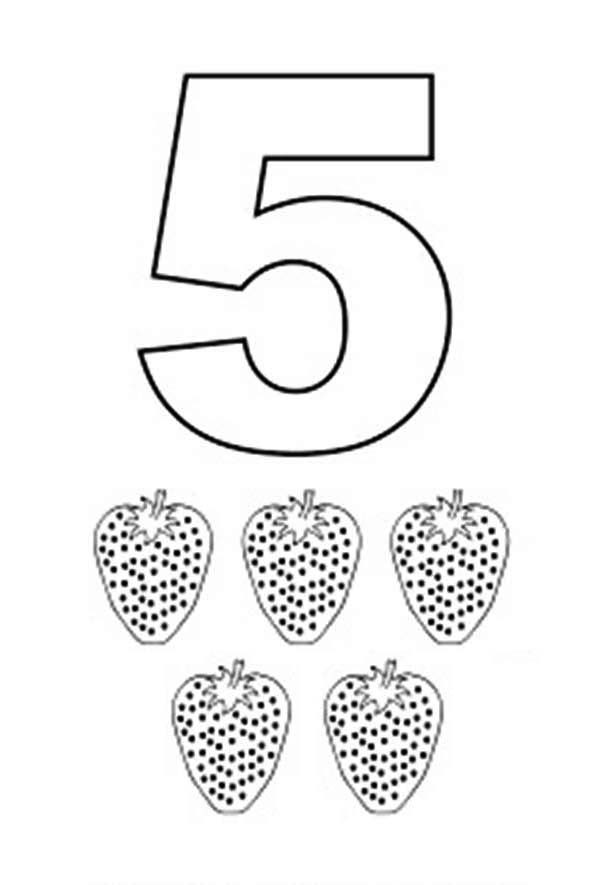 Number 5, : Learn Number 5 with Five Strawberries Coloring Page