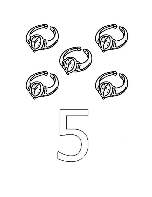 Number 5, : Learn Number 5 with Five Watches Coloring Page