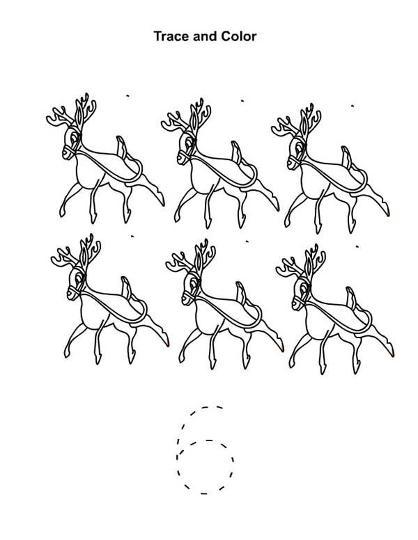 Number 6, : Learn Number 6 with Six Reindeers Coloring Page