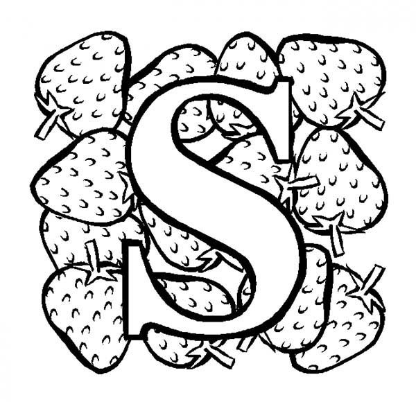 Letter S, : Learn Strawberry for Letter S Coloring Page