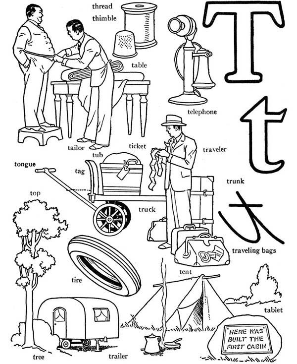 Letter T, : Learn Words from Letter T Coloring Page