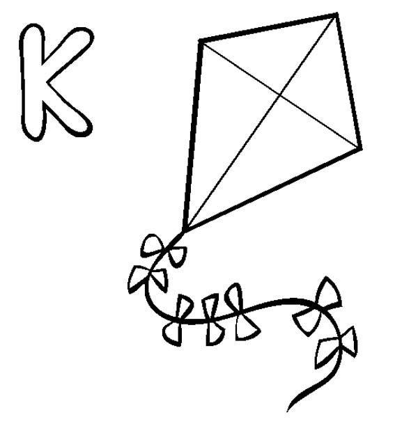 Letter K, : Learning Alphabet Letter K Coloring Page
