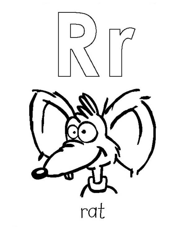 Learning Capital And Small Letter A Is For Rat Coloring Page