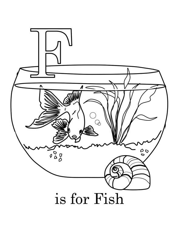 Letter F, : Learning Letter F for Coloring Page
