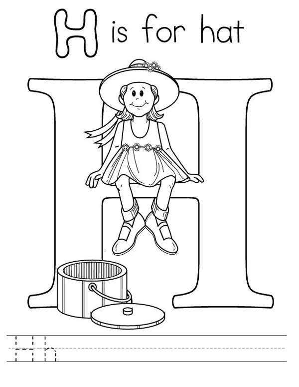 Letter H, : Learning Letter H Coloring Page