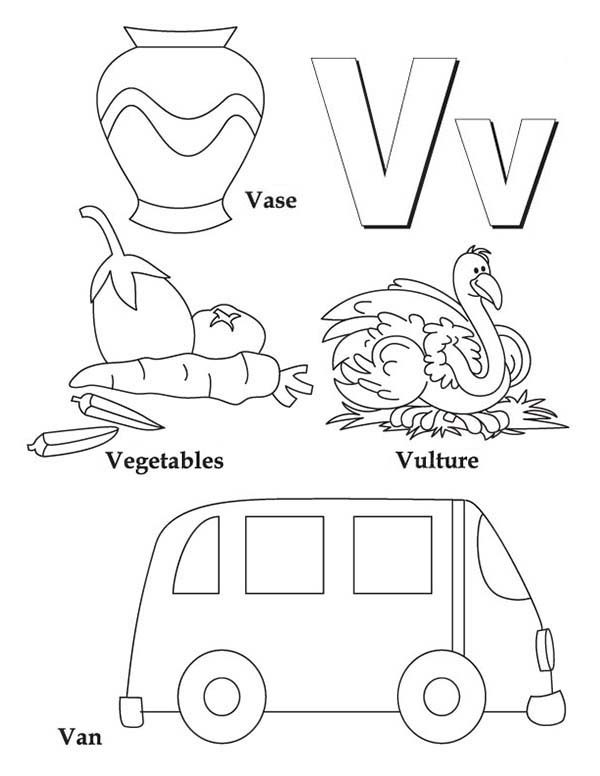 Letter V, : Learning Letter V Coloring Page for Kids