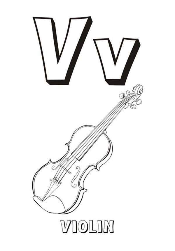Letter V, : Learning Letter V for Preschool Kids Coloring Page