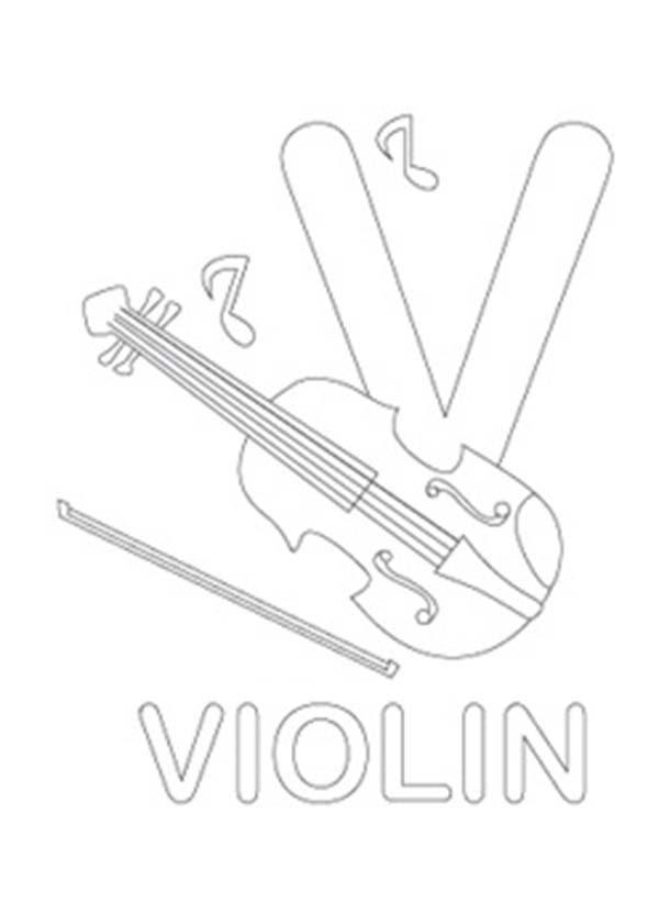 Letter V, : Learning Letter V for Violin Coloring Page
