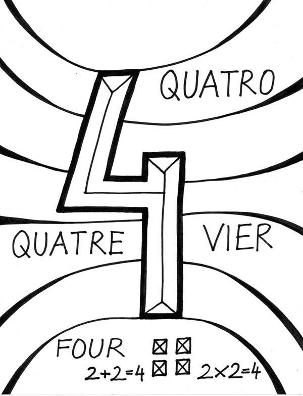 Number 4, : Learning Number 4 Coloring Page